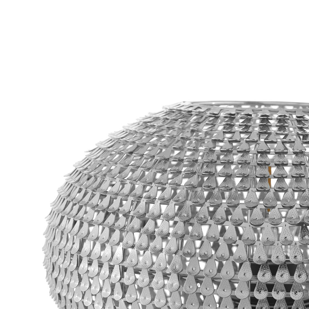 """8"""" Hand-Crafted Globe Sparkle Table Lamp - Nickel. Picture 2"""