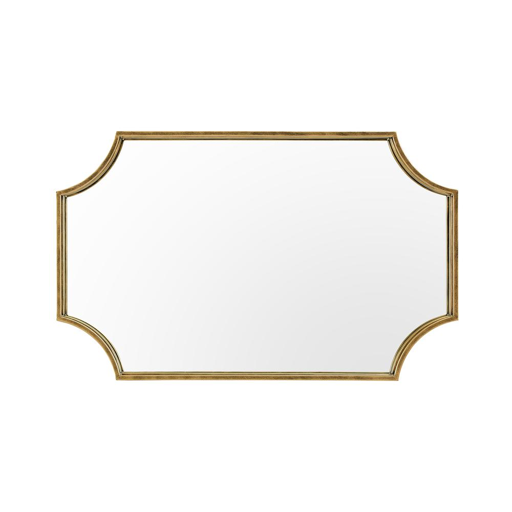 """32"""" Rectangle Notched Corner Metal Framed Mirror- Antique Brass. Picture 1"""