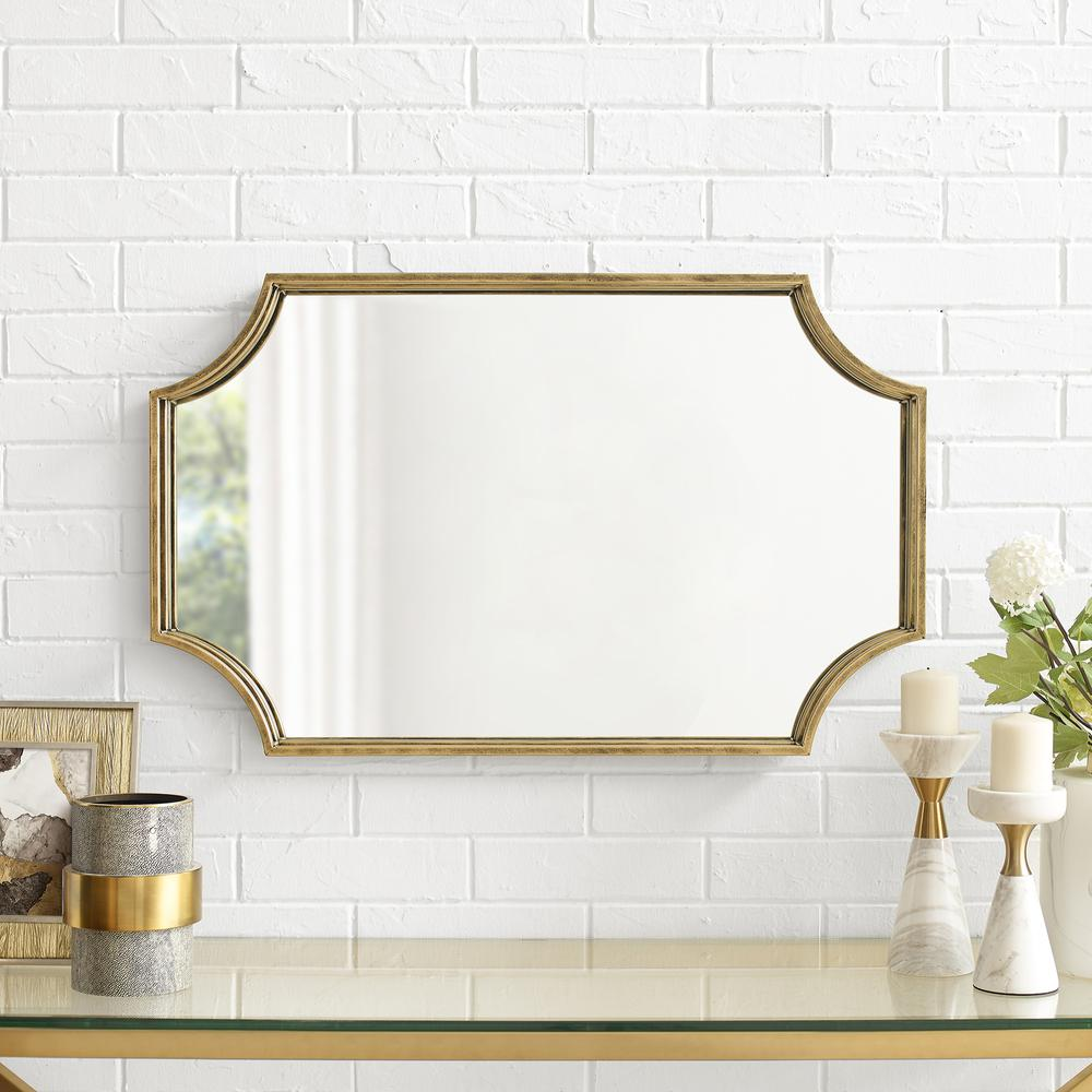 """32"""" Rectangle Notched Corner Metal Framed Mirror- Antique Brass. Picture 3"""