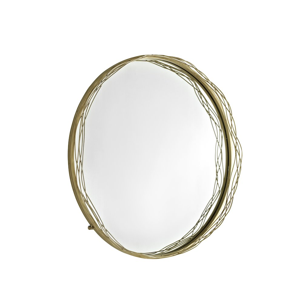 """32"""" Round Mirror with Wire Nest Frame - Gold. Picture 1"""