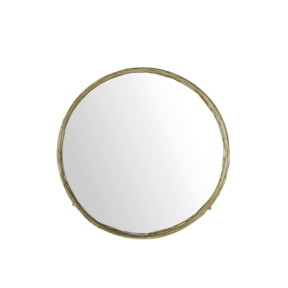 """32"""" Round Mirror with Wire Nest Frame - Gold. Picture 2"""