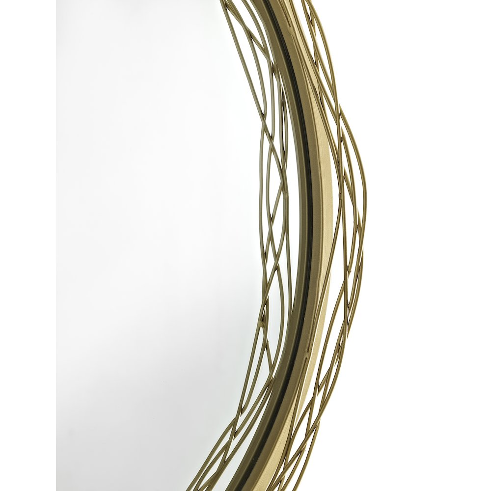 """32"""" Round Mirror with Wire Nest Frame - Gold. Picture 3"""