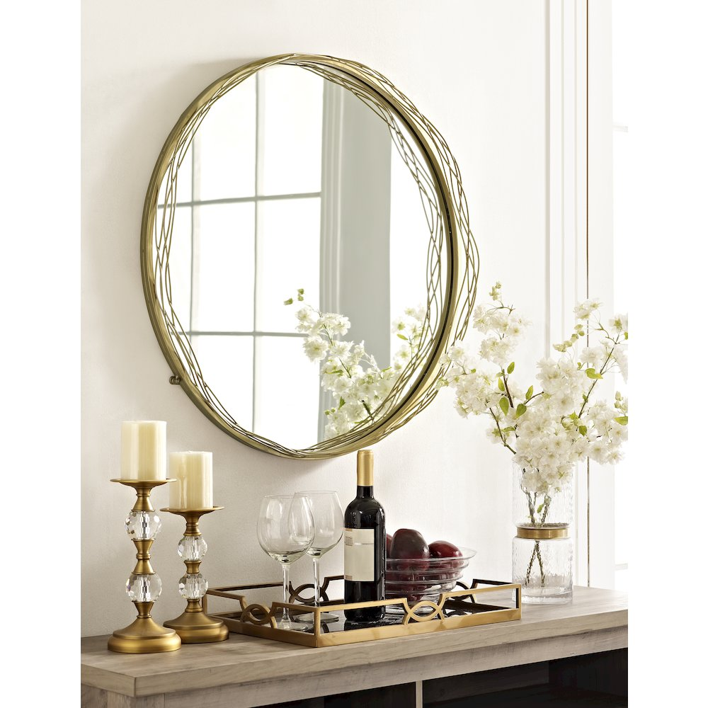 """32"""" Round Mirror with Wire Nest Frame - Gold. Picture 4"""