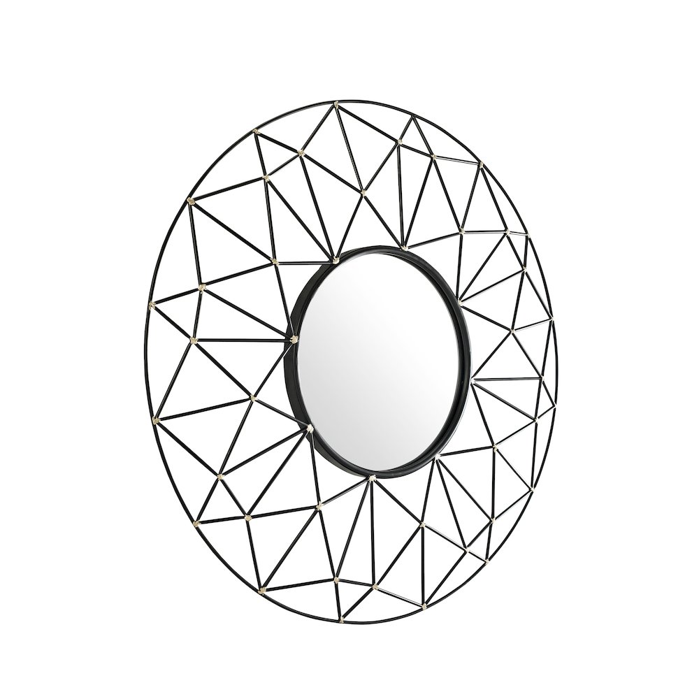 35 u0026quot  round geometric frame mirror with gold accents