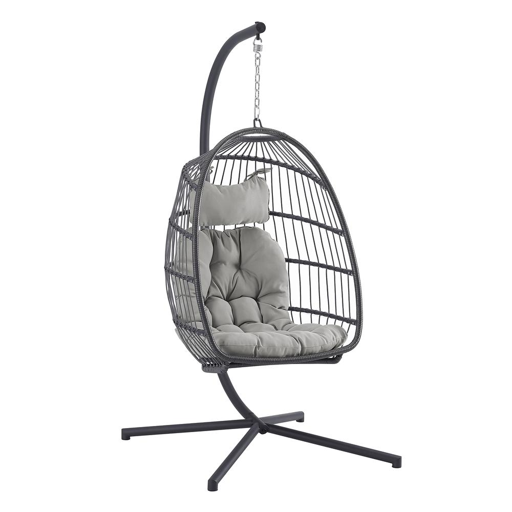 Swing Egg Chair with Stand - Grey/Grey. Picture 1