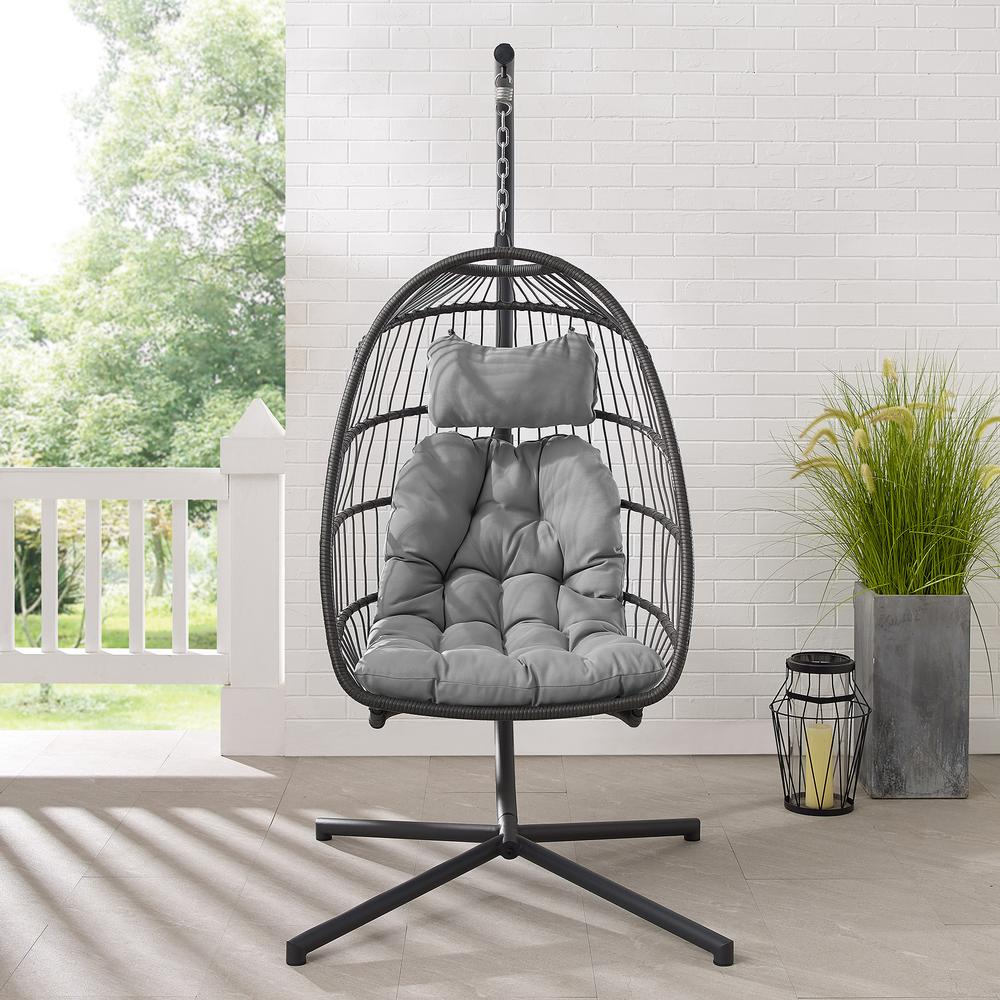 Swing Egg Chair with Stand - Grey/Grey. Picture 3