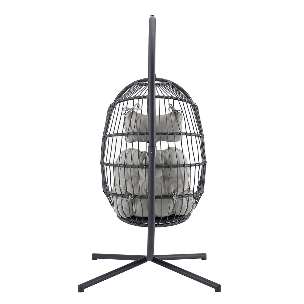Swing Egg Chair with Stand - Grey/Grey. Picture 4