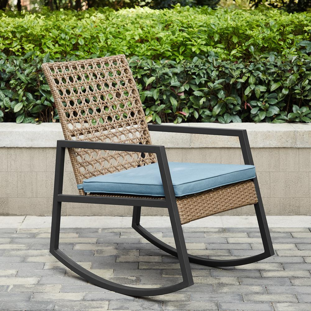Modern Patio Rattan Rocking Chair - Light Brown/Blue. Picture 2