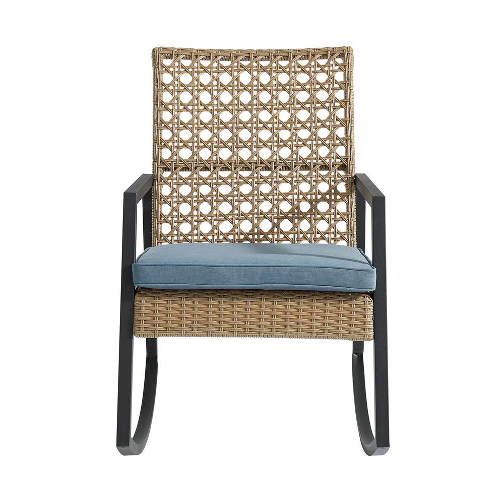 Modern Patio Rattan Rocking Chair - Light Brown/Blue. Picture 1