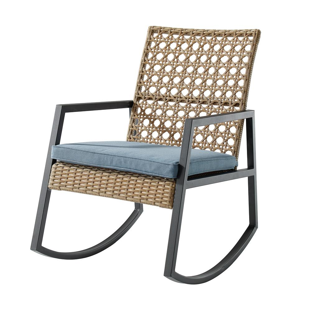 Modern Patio Rattan Rocking Chair - Light Brown/Blue. Picture 3