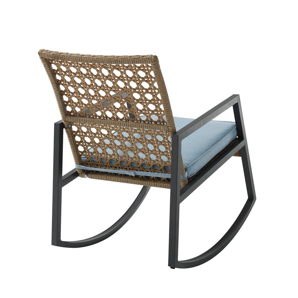 Modern Patio Rattan Rocking Chair - Light Brown/Blue. Picture 4