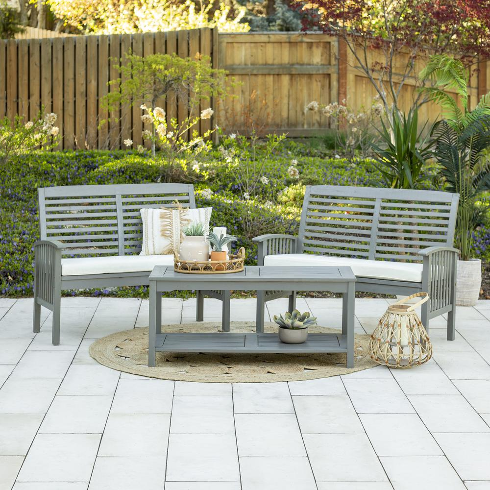 3-Piece Classic Outdoor Patio Chat Set - Grey Wash. Picture 2