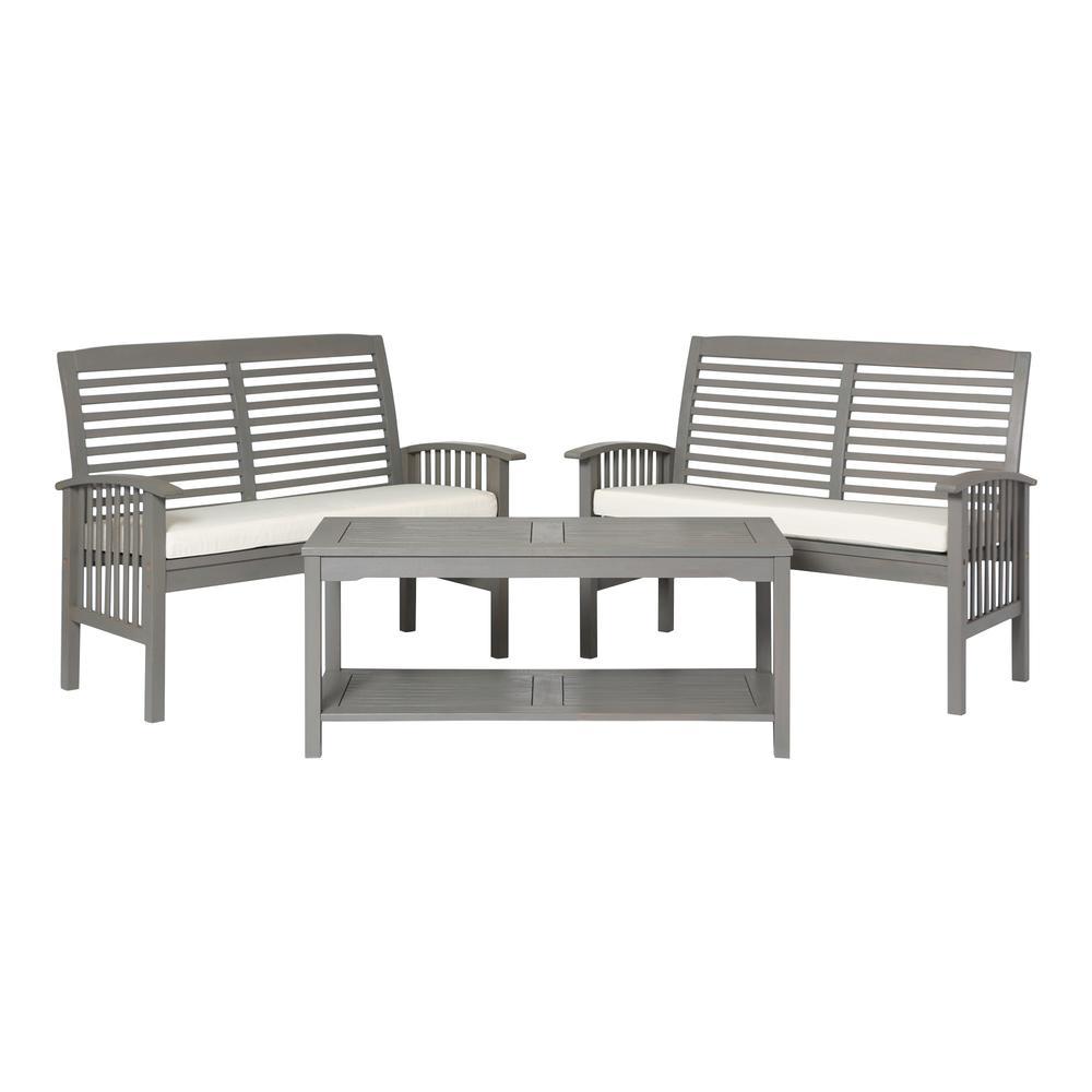 3-Piece Classic Outdoor Patio Chat Set - Grey Wash. Picture 1
