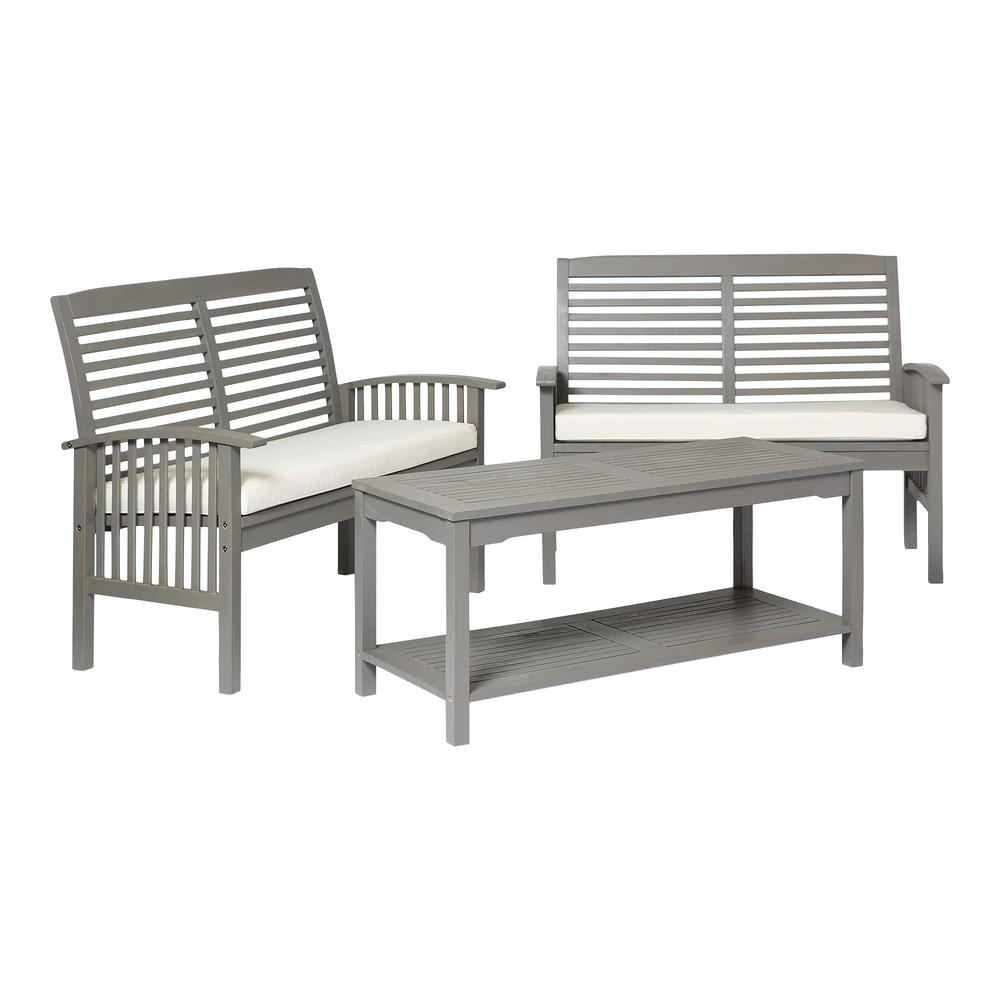 3-Piece Classic Outdoor Patio Chat Set - Grey Wash. Picture 3