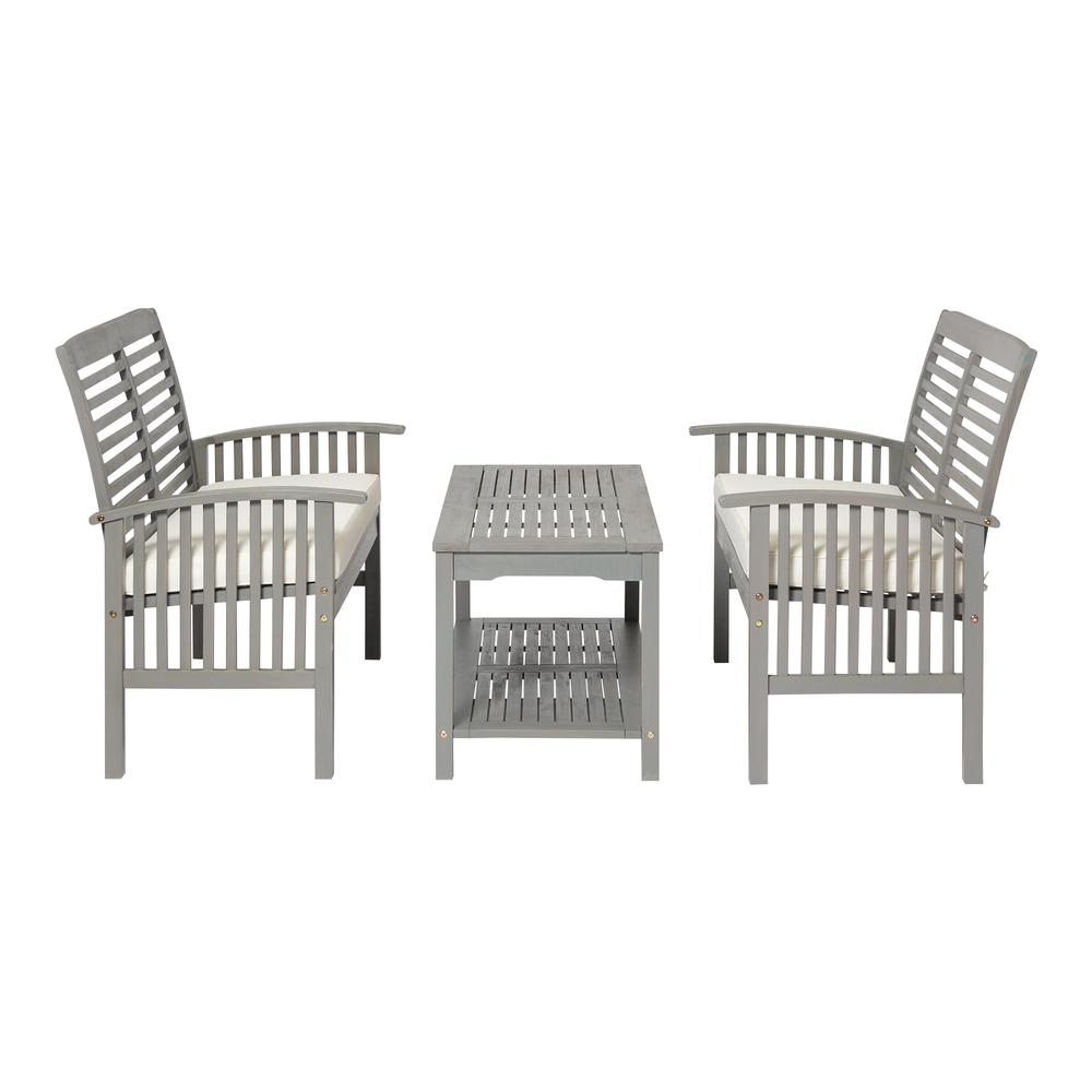 3-Piece Classic Outdoor Patio Chat Set - Grey Wash. Picture 4