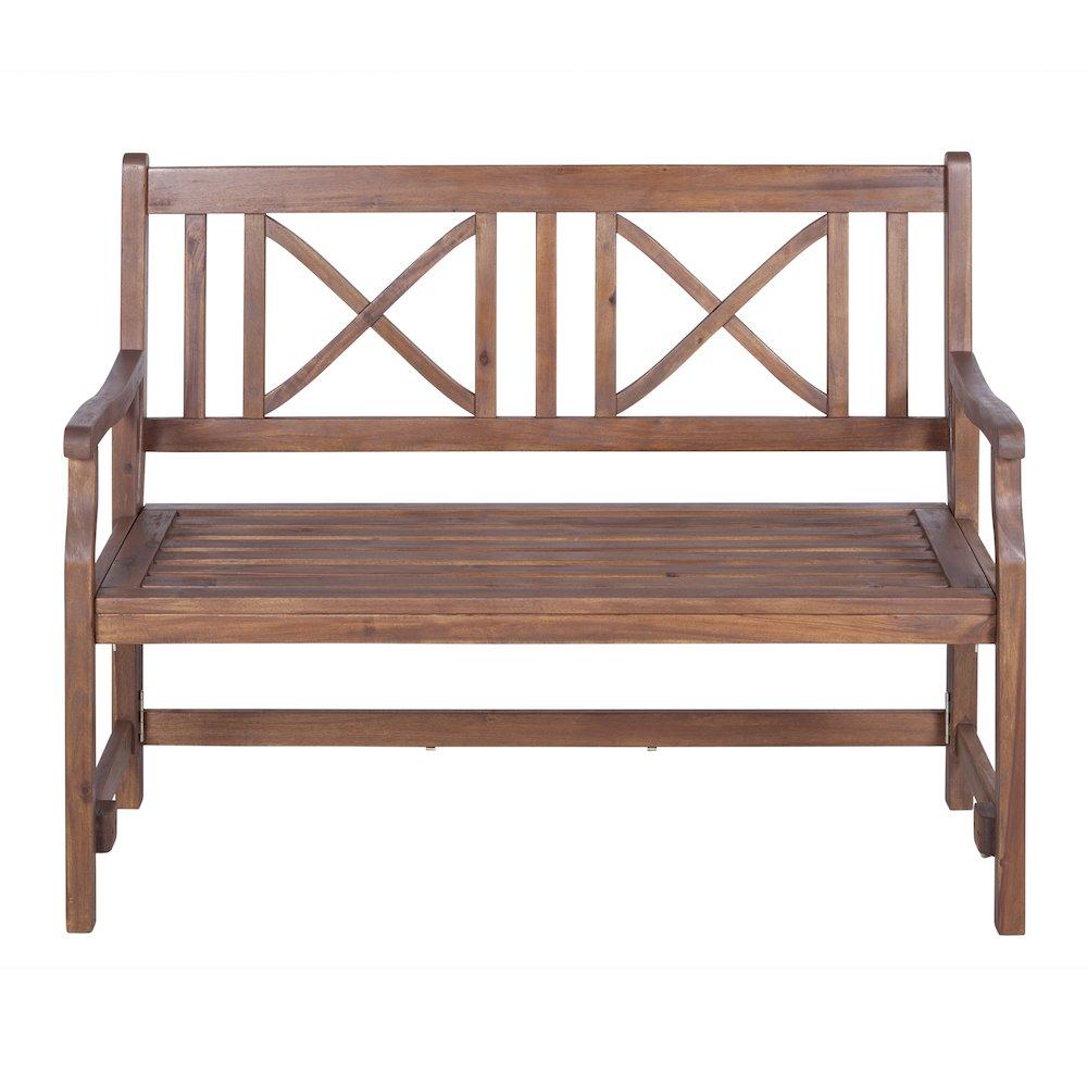 48 Quot Acacia Wood Folding Bench Dark Brown