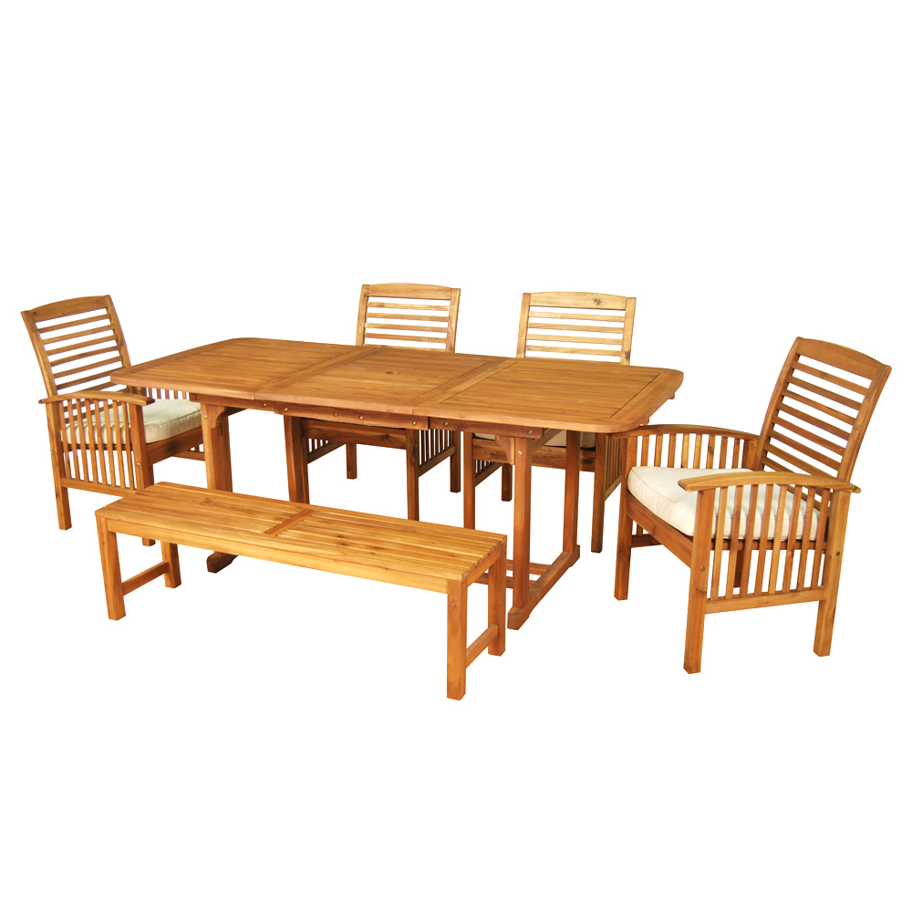 Walker edison 6 piece brown acacia patio dining set with cushions - Must have pieces for your patio furniture ...