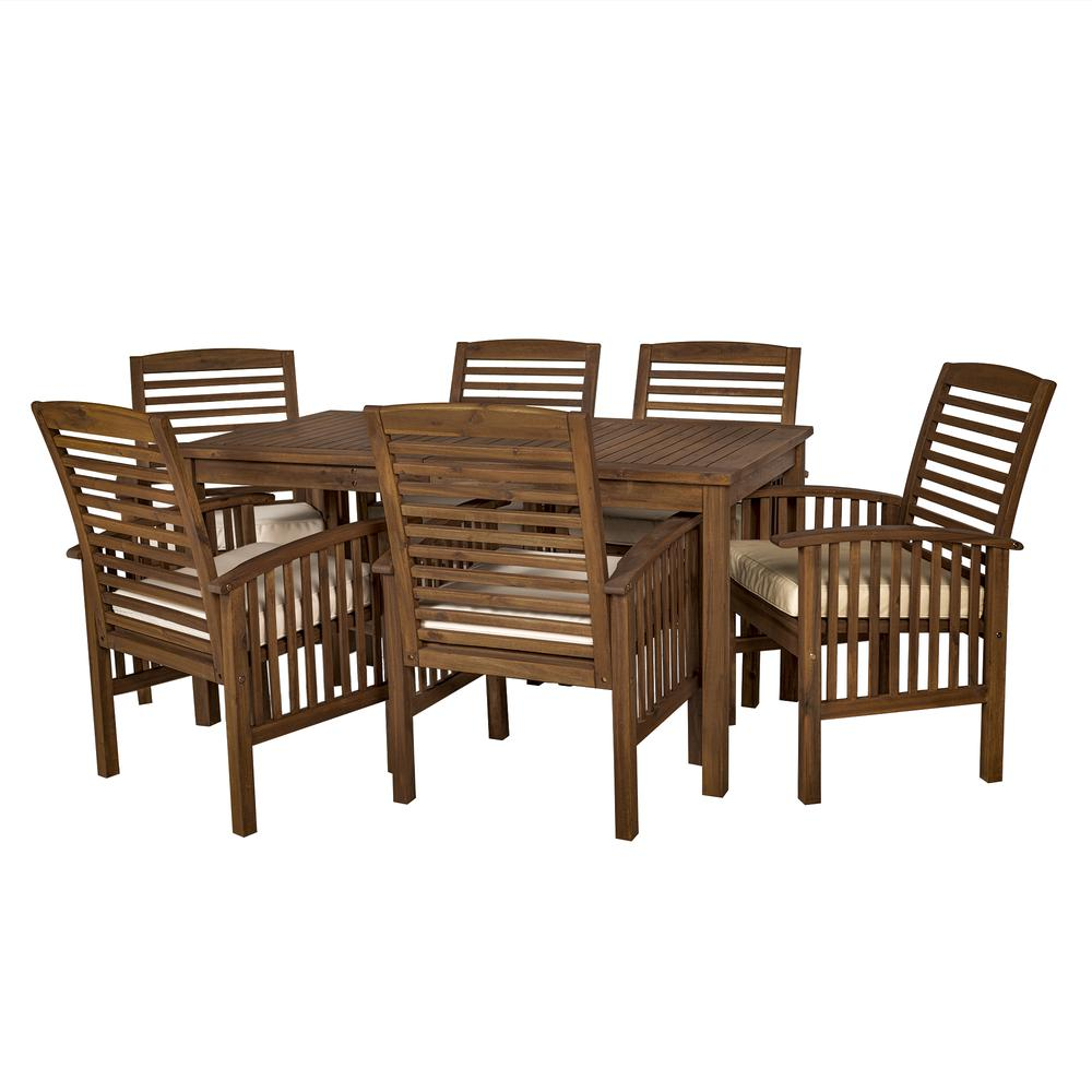 Dark Wood Dining Set: Acacia Wood Classic Patio 7-Piece Dining Set