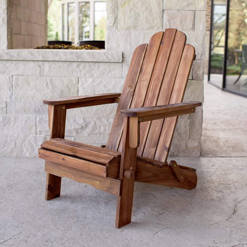 Acacia Adirondack Chair - Brown. Picture 2