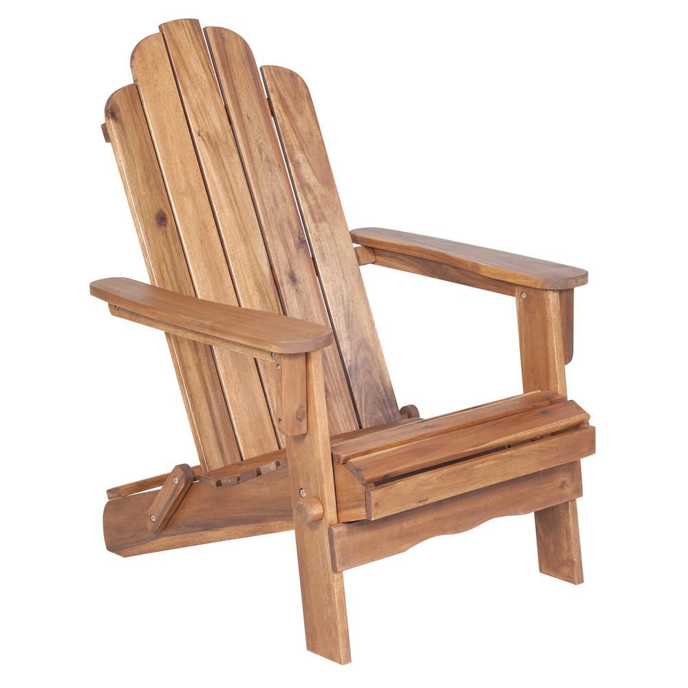 Acacia Adirondack Chair - Brown. Picture 1