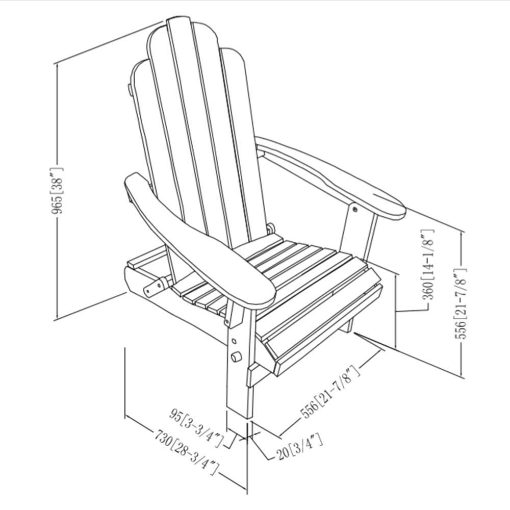 Acacia Adirondack Chair - Brown. Picture 5