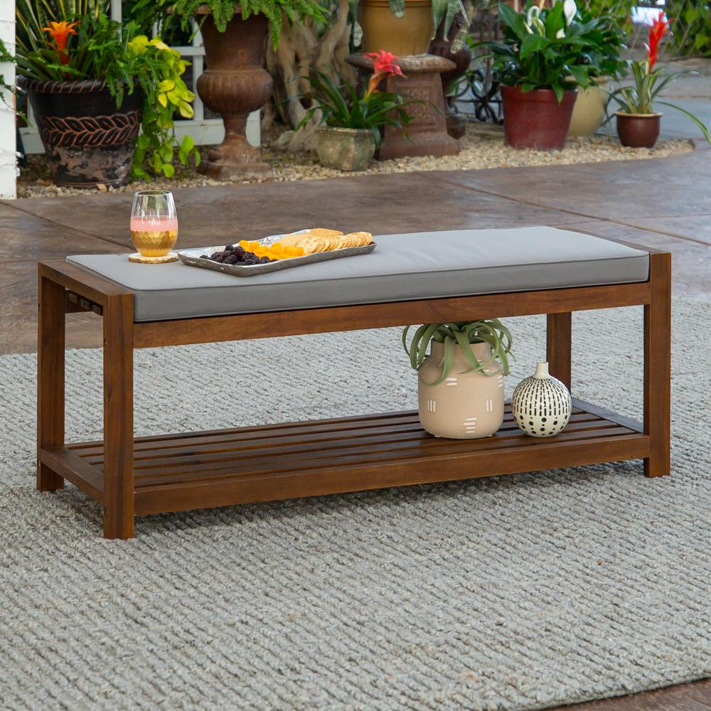"48"" Acacia Wood Outdoor Bench - Dark Brown/Grey. Picture 2"