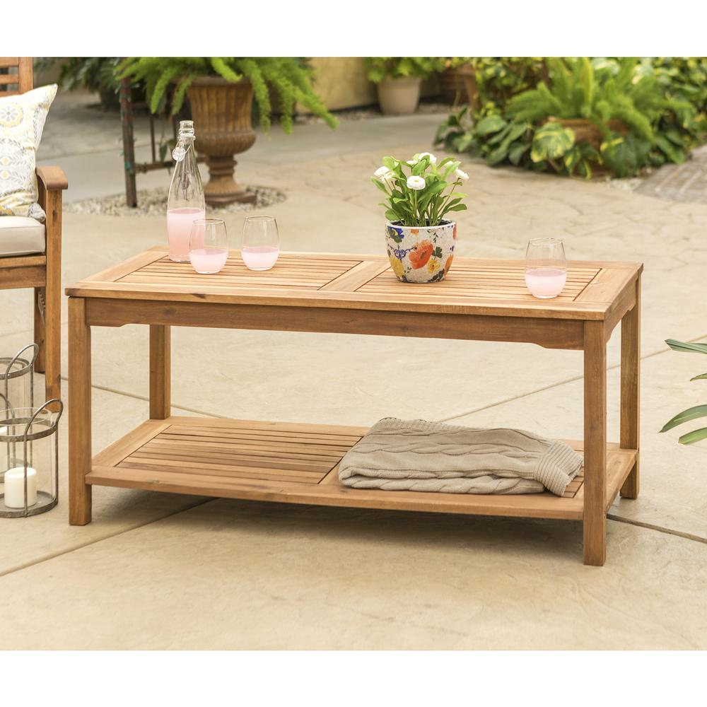Acacia wood patio coffee table brown Patio coffee tables