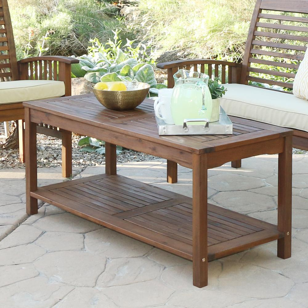 Acacia Wood Patio Coffee Table Dark Brown
