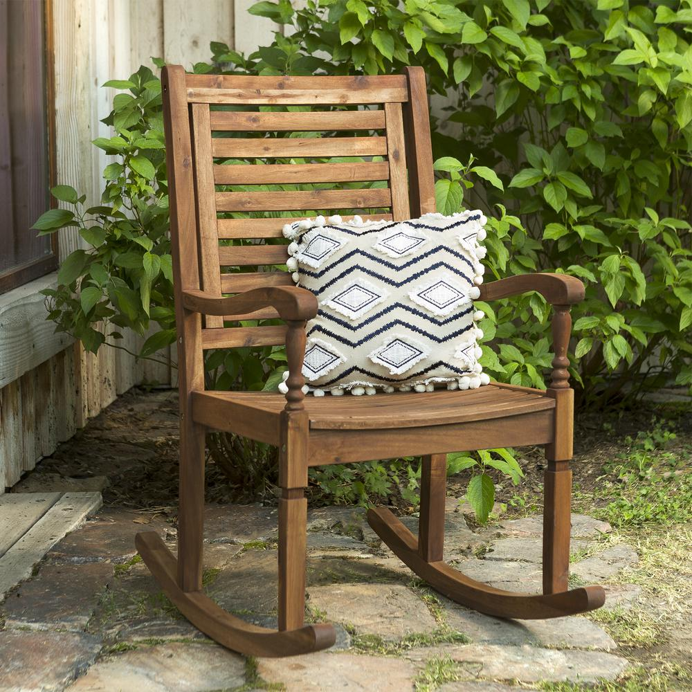 Solid Acacia Wood Rocking Patio Chair Brown