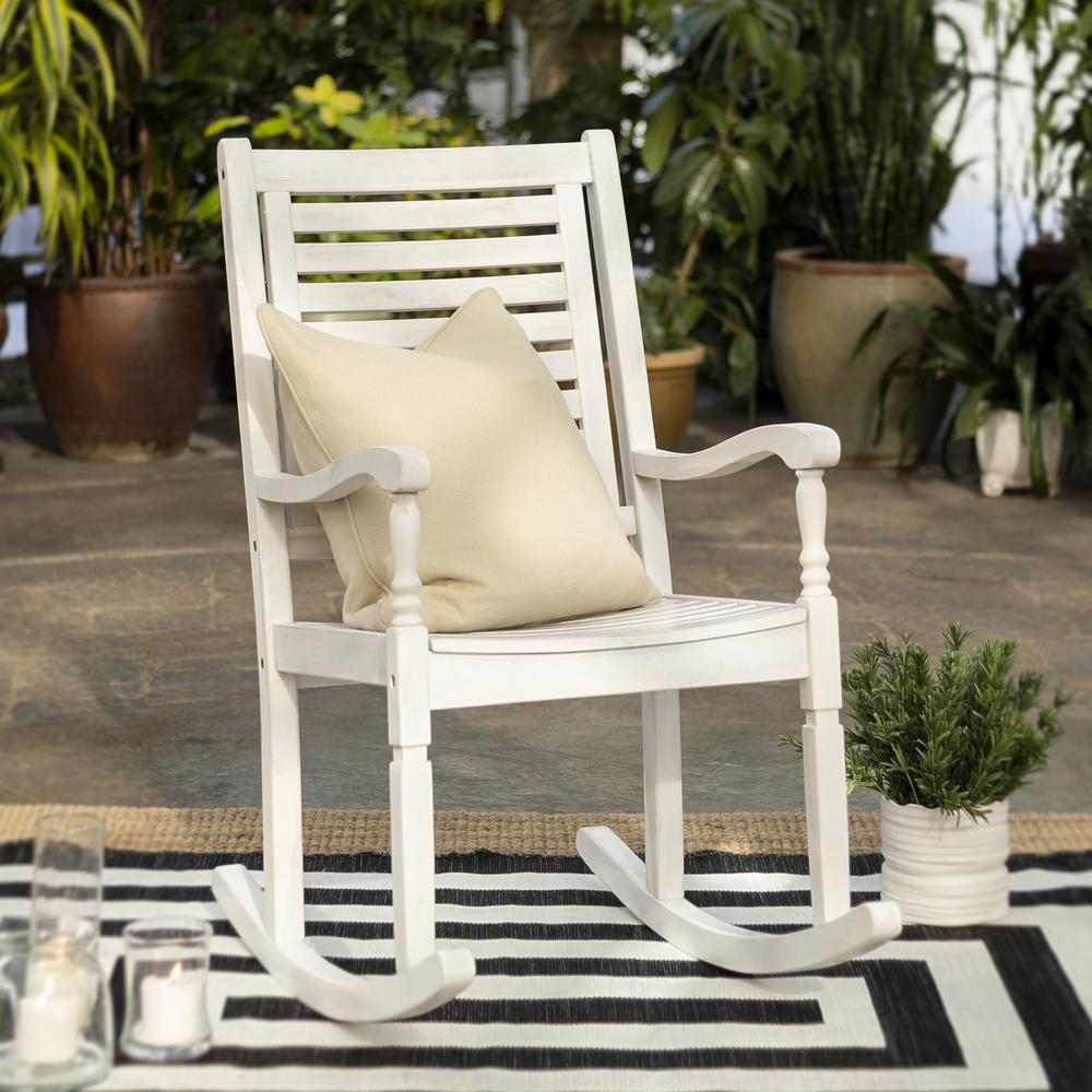 Acacia Outdoor Solid Wood Rocking Chair- White Wash. Picture 2