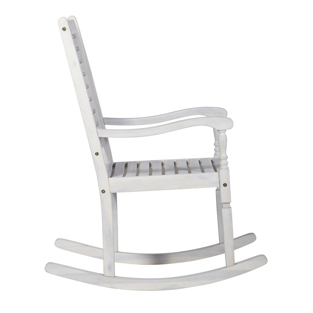 Acacia Outdoor Solid Wood Rocking Chair- White Wash. Picture 1