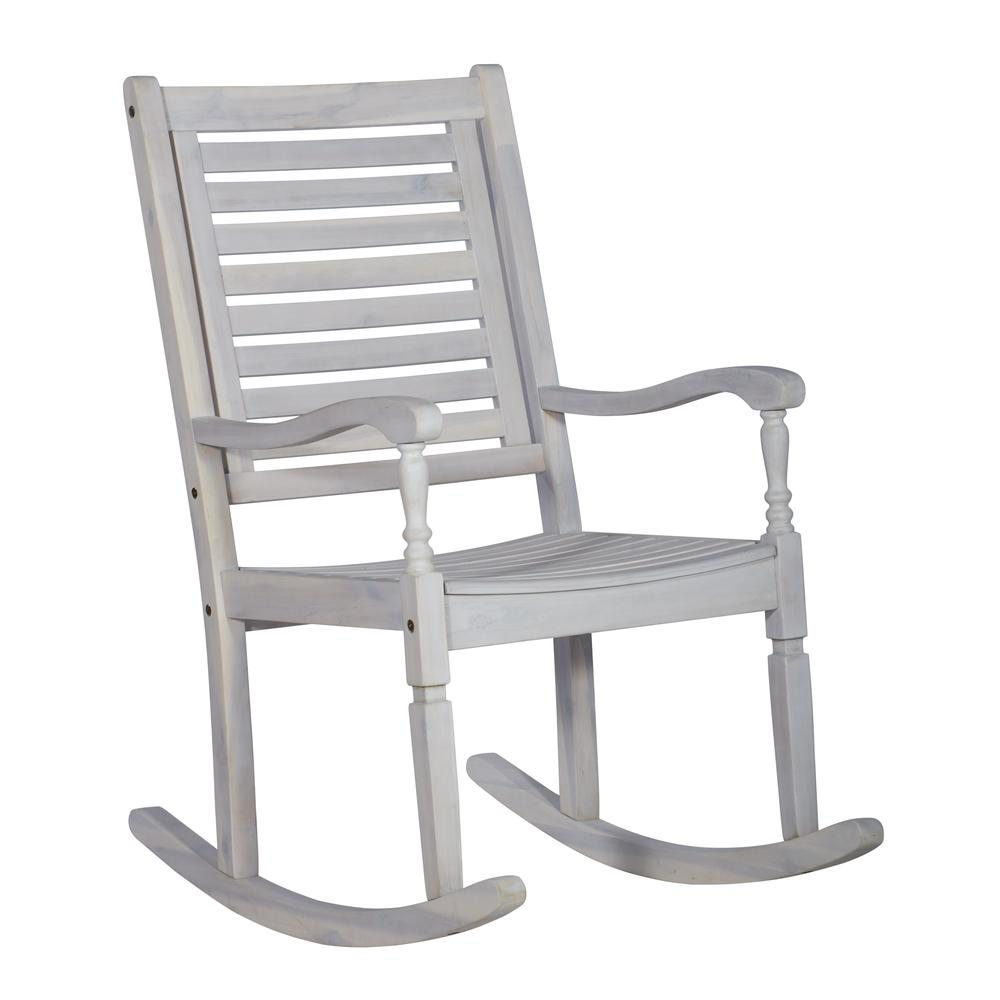 Acacia Outdoor Solid Wood Rocking Chair- White Wash. Picture 4