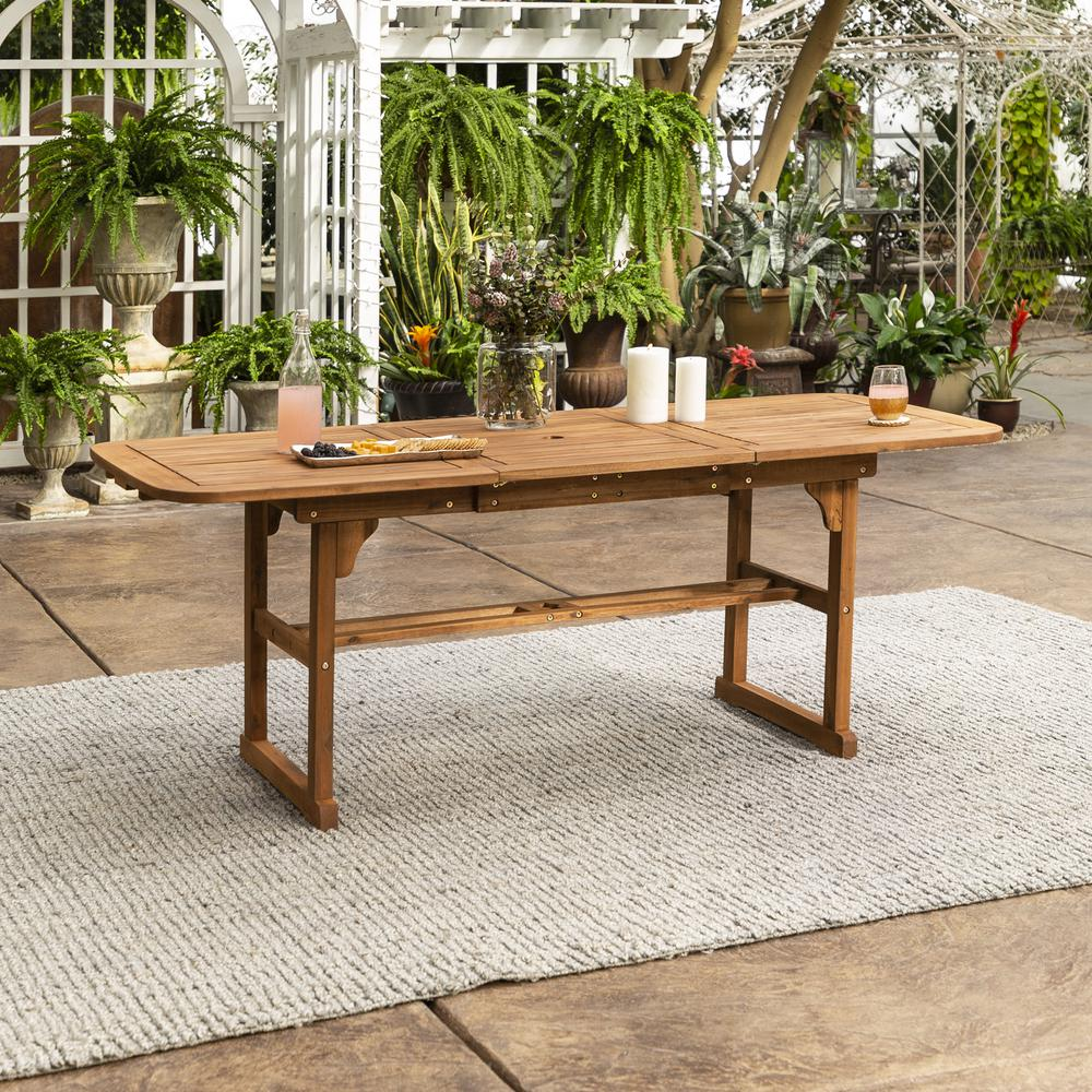 Acacia Wood Patio Butterfly Table - Brown. Picture 2
