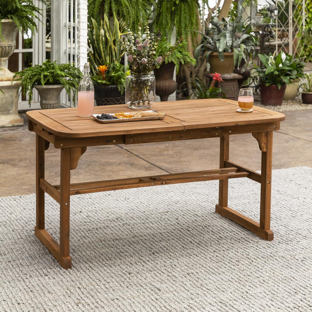 Acacia Wood Patio Butterfly Table - Brown. Picture 1