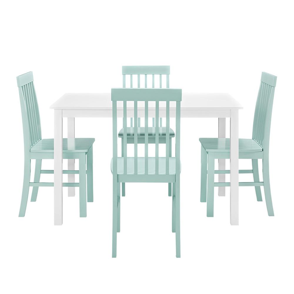 Greyson 5-Piece Dining Set - White/Sage. Picture 3