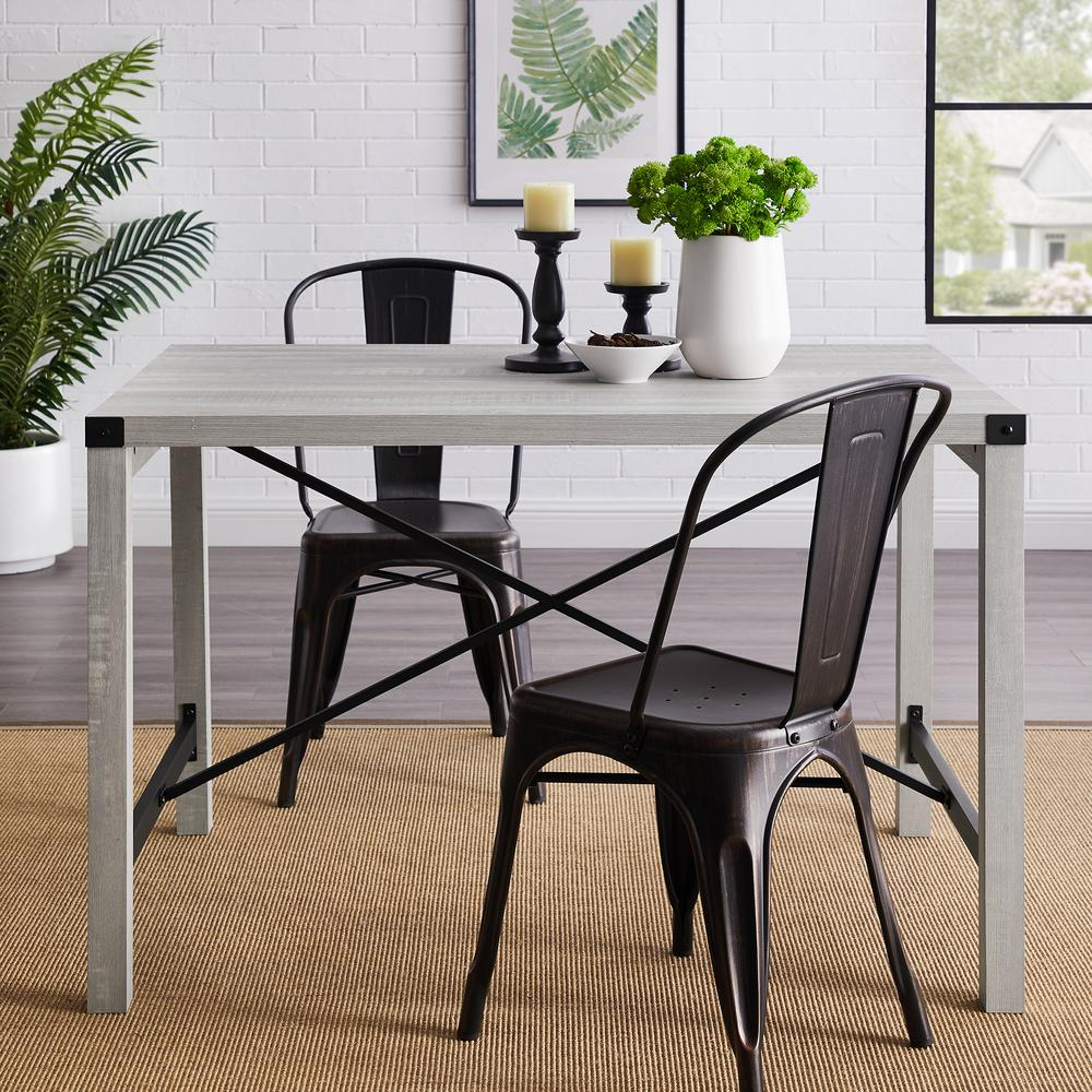 """48"""" Metal X Dining Table - Stone Grey. Picture 2"""