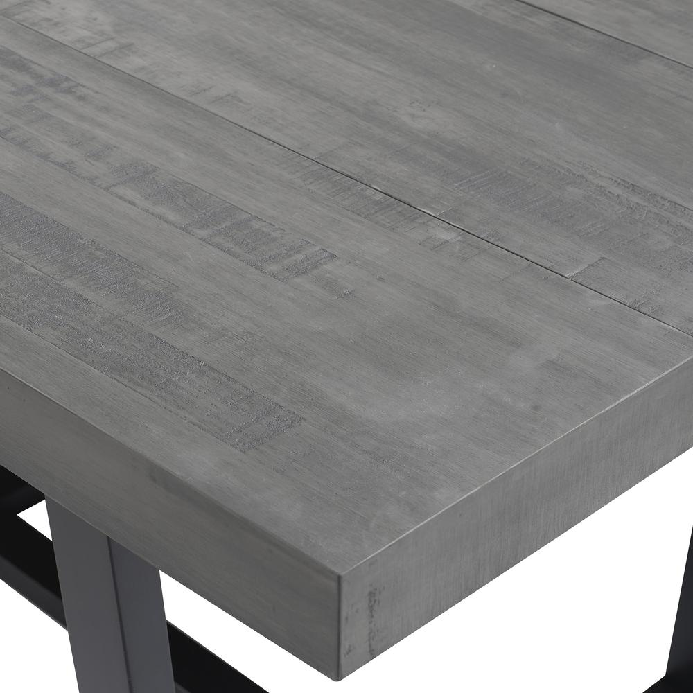 """52"""" Distressed Solid Wood Dining Table - Grey. Picture 4"""