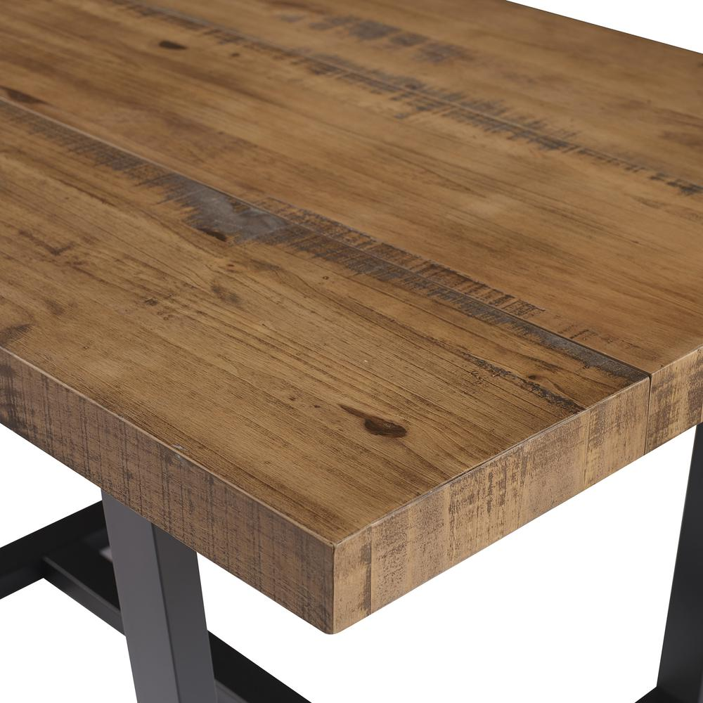 """52"""" Distressed Solid Wood Dining Table - Reclaimed Barnwood. Picture 4"""