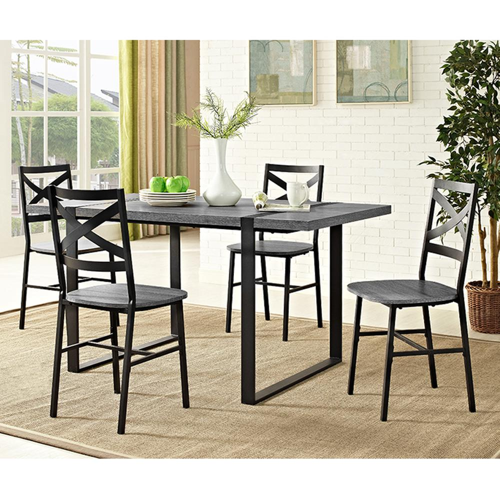 "60"" Urban Blend Wood Dining Table - Charcoal. Picture 2"