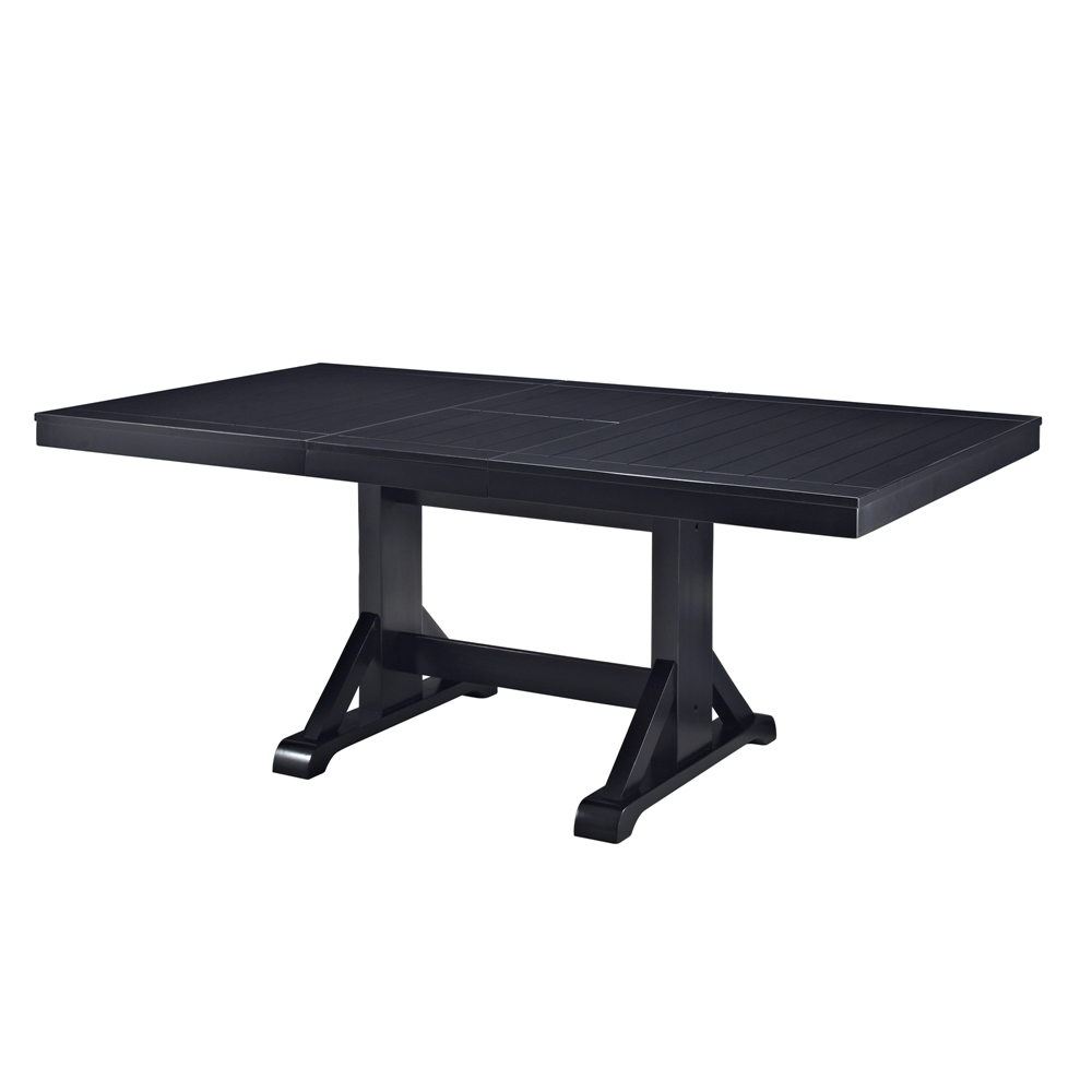 Antique black wood kitchen dining table for Black wood dining table