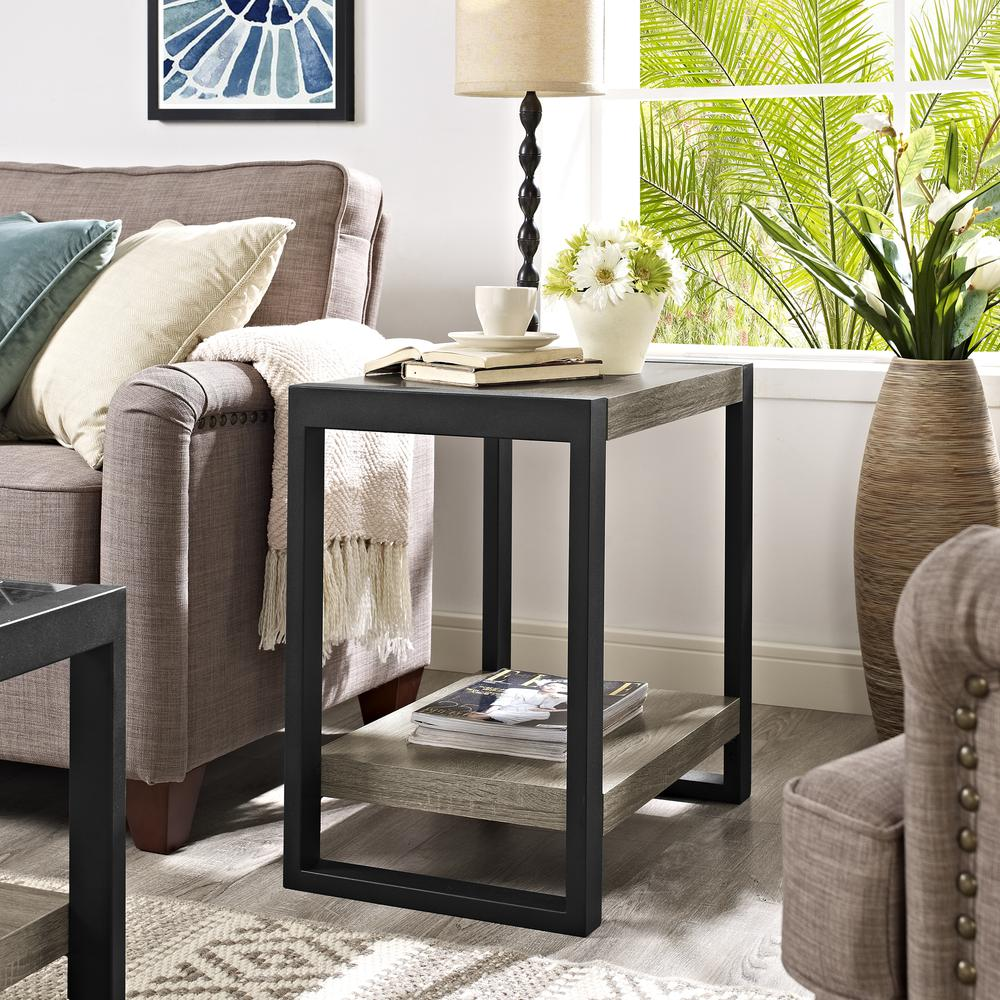 "24"" Urban Blend Side Table - Driftwood/Black. Picture 2"