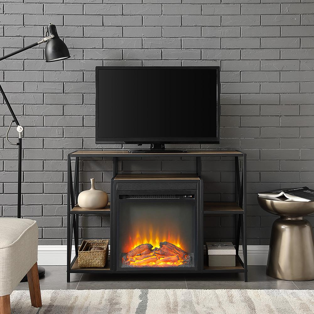 """40"""" Urban Industrial X-Frame Open Shelf Fireplace TV Stand Storage Console - Rustic Oak. Picture 2"""