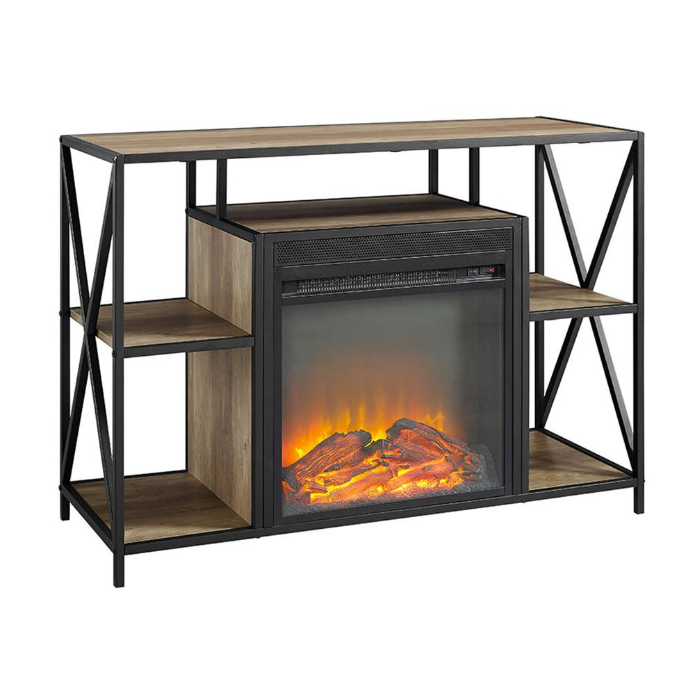 """40"""" Urban Industrial X-Frame Open Shelf Fireplace TV Stand Storage Console - Rustic Oak. Picture 1"""