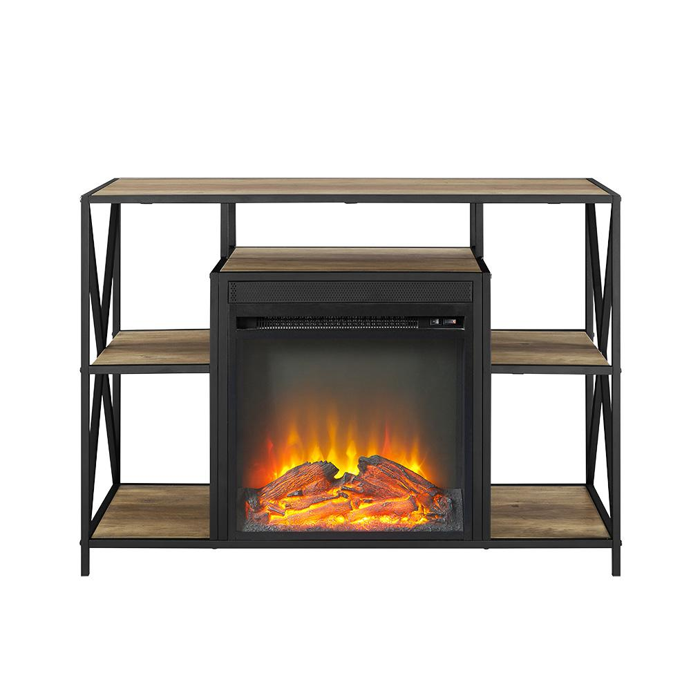 """40"""" Urban Industrial X-Frame Open Shelf Fireplace TV Stand Storage Console - Rustic Oak. Picture 3"""