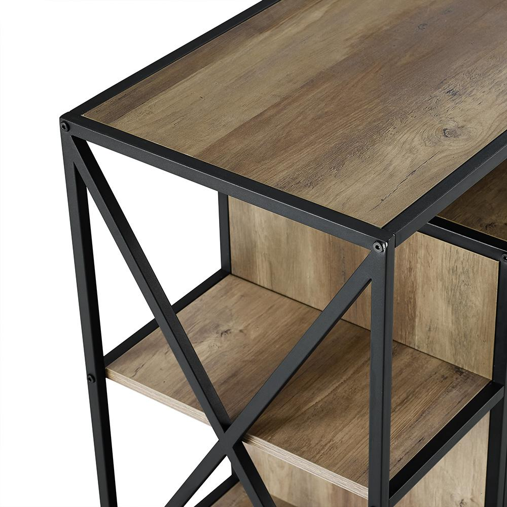 """40"""" Urban Industrial X-Frame Open Shelf Fireplace TV Stand Storage Console - Rustic Oak. Picture 4"""