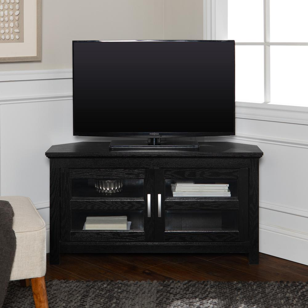 """44"""" Black Wood Corner TV Stand Console. Picture 2"""