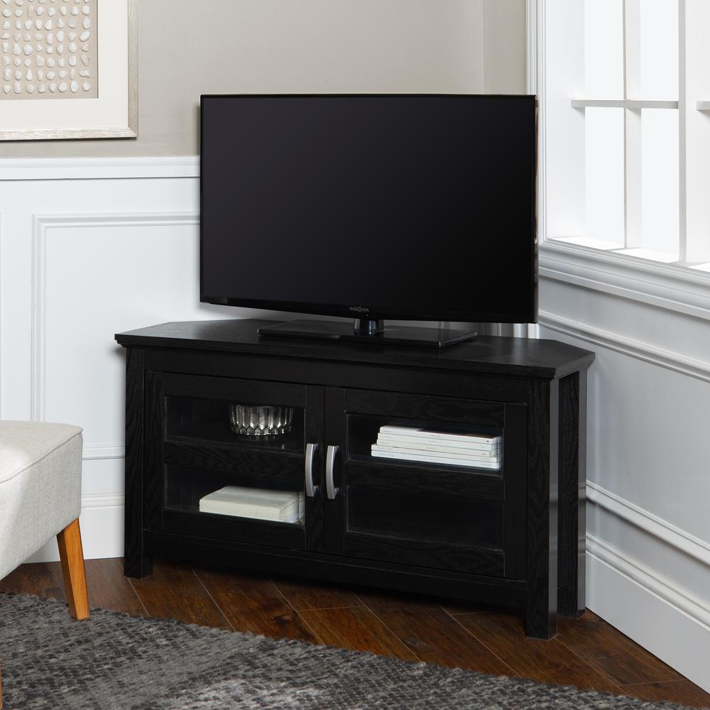 """44"""" Black Wood Corner TV Stand Console. Picture 1"""