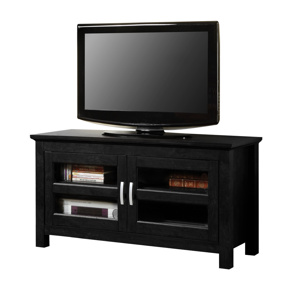 Quot black wood tv stand console