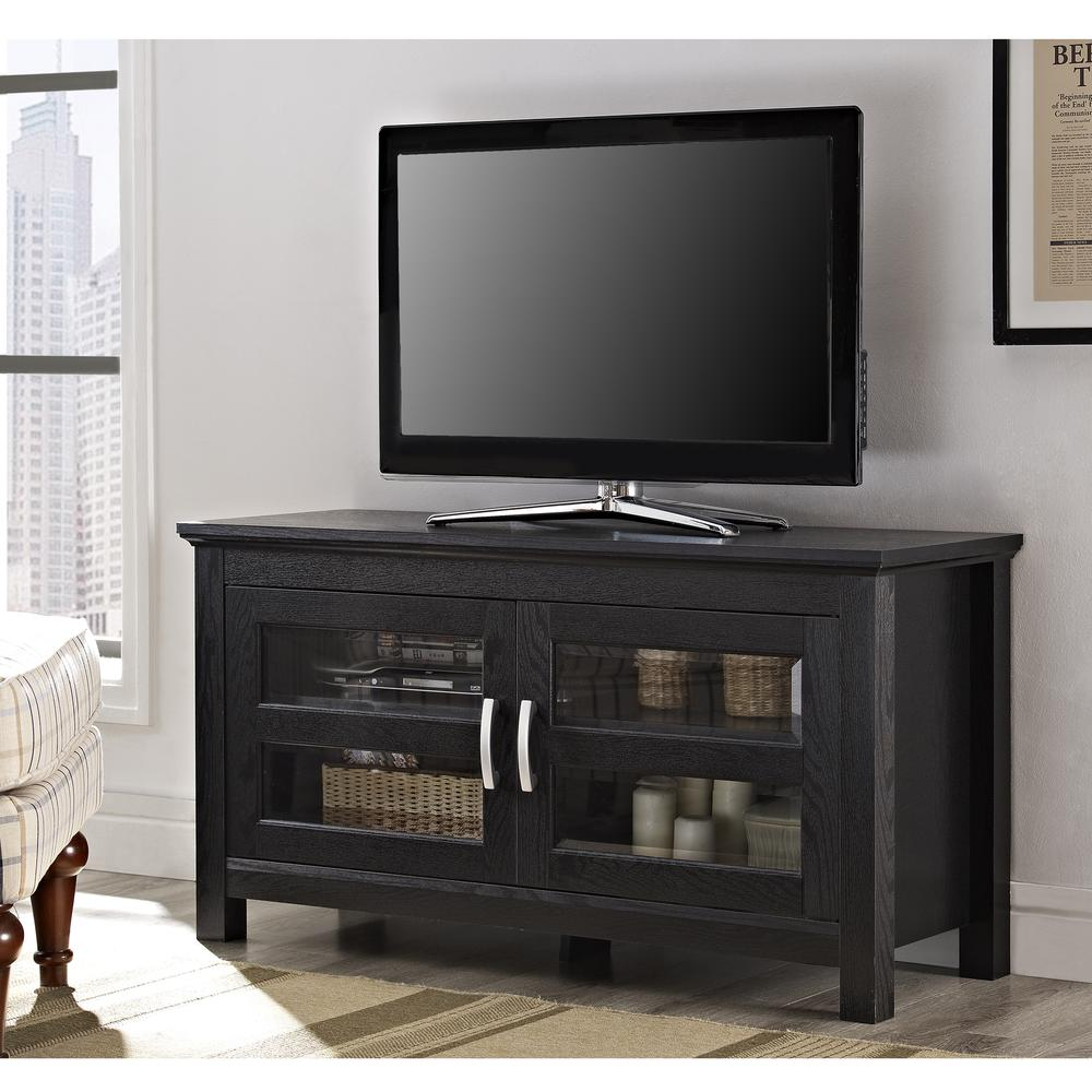 """44"""" Black Wood TV Stand Console. Picture 2"""
