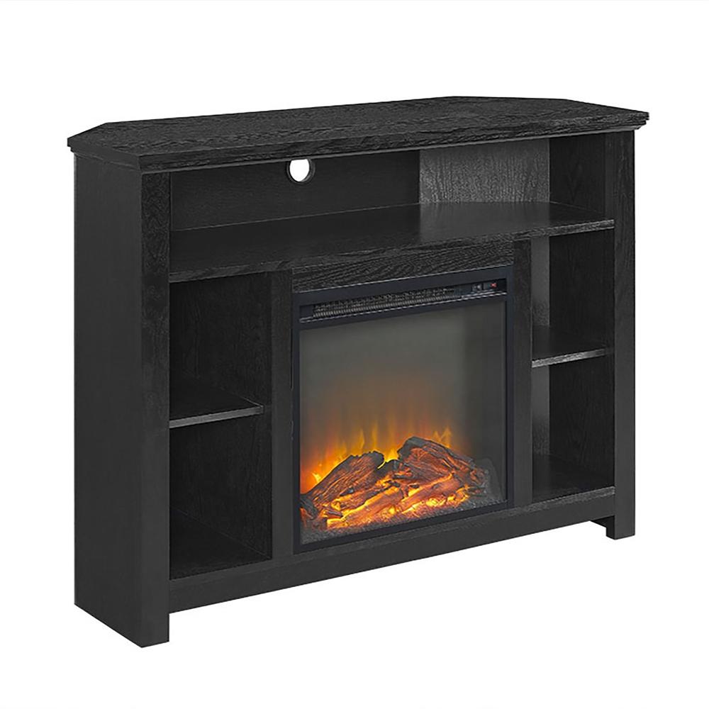 44 Quot Wood Corner Highboy Fireplace Tv Stand Black
